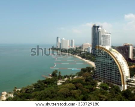 Blurry shot of Pattaya Gulf, Thailand - stock photo