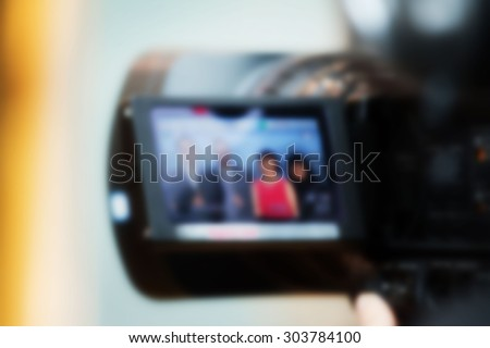 Blurry Video camera lcd display - professional HD production - stock photo