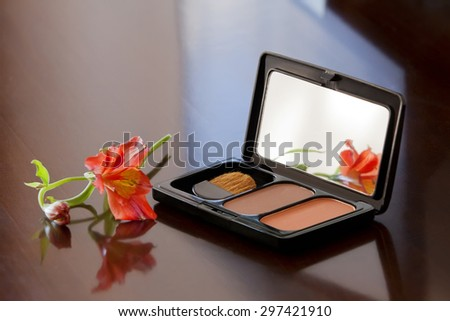 Blush, eye shadow and brush in an open box. Professional make-up. Peach and beige - stock photo