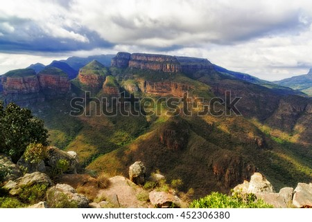 Blyde river canyon in South Africa with view to the three sisters  landmark - stock photo