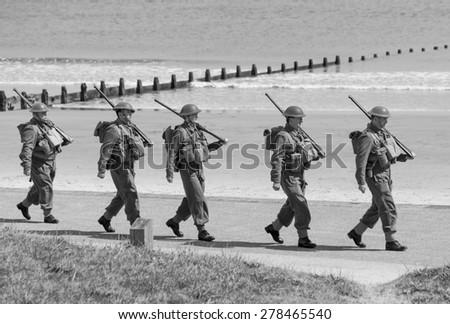 BLYTH, NORTHUMBERLAND. ENGLAND. MAY 16, 2015. World War 2 reenactment by Blyth Battery. May 16, 2015. Blyth Northumberland. England. - stock photo