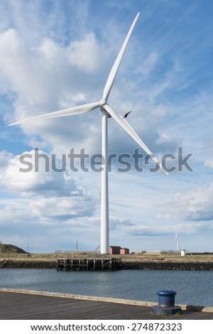 Blyth, Northumberland, UK, 27 APRIL 2015. Wind Turbine on bank of River Blyth in Northumberland, UK.