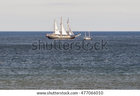 BLYTH, NORTHUMBRLAND, ENGLAND. AUGUST 29, 2016. Tall Ships Regatta. Ship , leaving Blyth and heading out to sea. August 29, 2016, Blyth, Northumberland, England, UK.