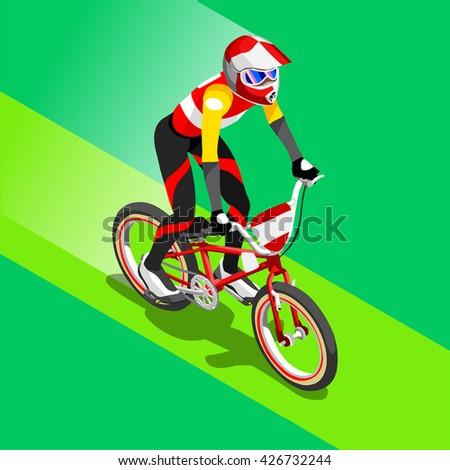 BMX Cyclist Bicyclist Athletes 2016 Summer Games Brasil. 3D Isometric Athlete.Sporting Championship International Competition. Brazil Sport Infographic BMX Cyclist Bicyclist Race olympics Illustration - stock photo