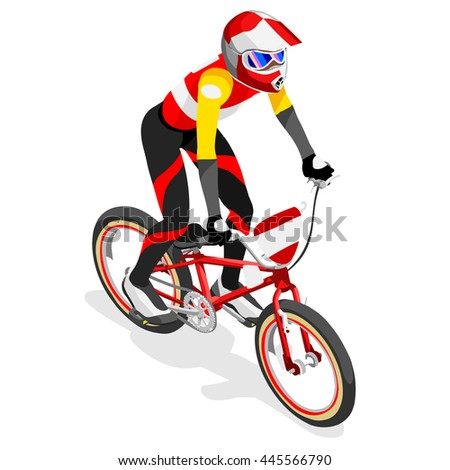 BMX Cyclist Bicyclist Athletes 2016 Summer Games Brasil. 3D Isometric Athlete.Sporting Championship International Competition. Brazil Sport Infographic BMX Cyclist Bicyclist Race olympics Image - stock photo