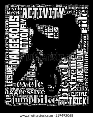 BMX info-text graphic and arrangement concept on black background (word cloud) - stock photo