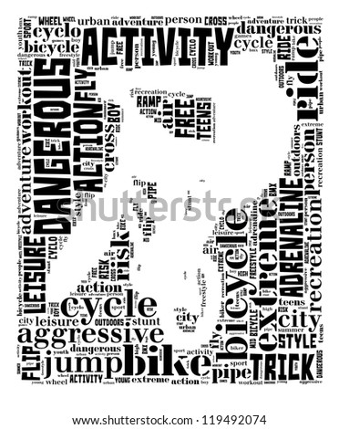 BMX info-text graphic and arrangement concept on white background (word cloud) - stock photo