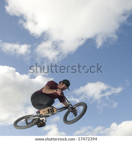 BMX jumps over lip - stock photo