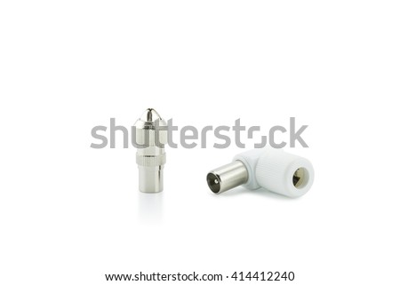 BNC connectors used for coaxial cable on white background. - stock photo