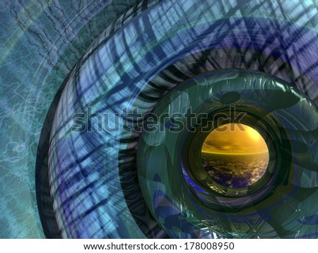 Boa - a semi abstract 3D rendering of concentric circles resembling a large snake - with a landscape beyond - stock photo