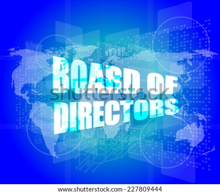 board of directors words on digital screen background with world map - stock photo