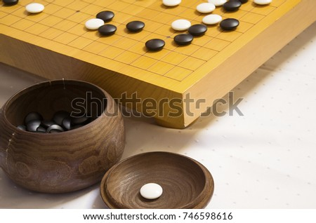 Board Of Go Ancient Asian Intellectual Game Wooden Bowl With Bones