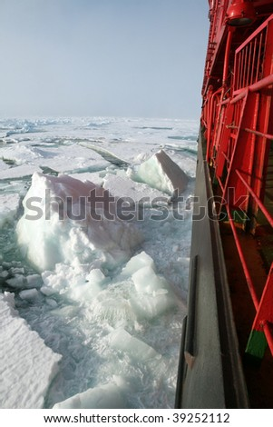 Board of nuclear-powered icebreaker. Arctic Ocean. - stock photo