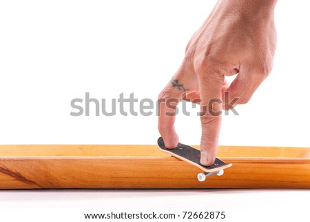 Board Slide Aggressive Skateboarding Grind with Finger Board