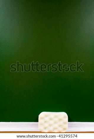 board with a light bath sponge - stock photo