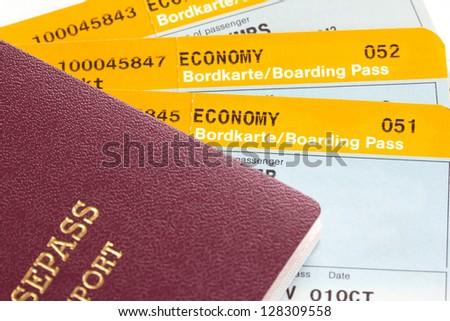 Boarding pass and passport (manual focus) - stock photo