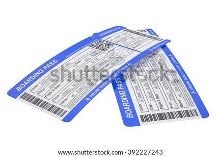 Boarding pass tickets isolated on white background