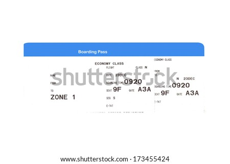 Boarding pass to the passenger airplane - stock photo