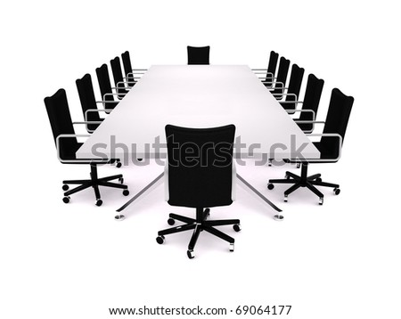 Boardroom. 3D rendering of a conference table and office chairs - stock photo