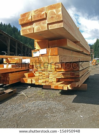 Boards at the sawmill are ready for shipping.  - stock photo
