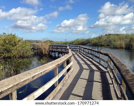 Boardwalk in Everglades National Park in Florida - stock photo