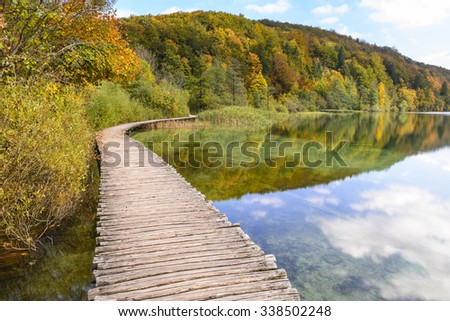 Boardwalk in Plitvice Lakes National Park in Autumn, Croatia - stock photo