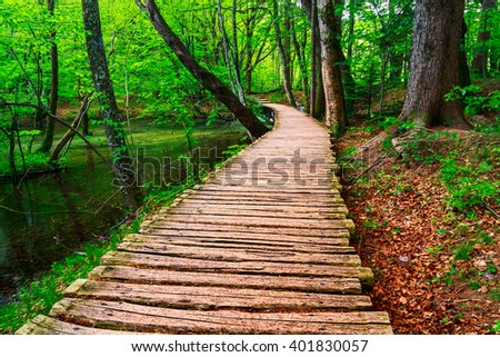 Boardwalk in the park Plitvice lakes, Croatia