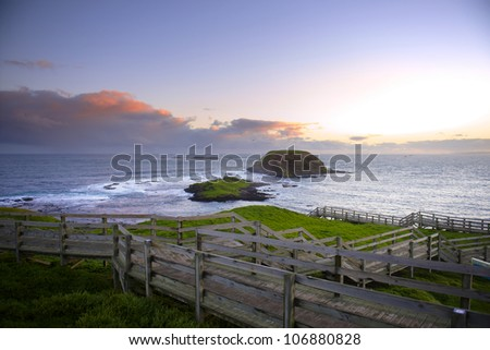 Boardwalk on Australian Coastline. Phillip Island, Victoria. - stock photo