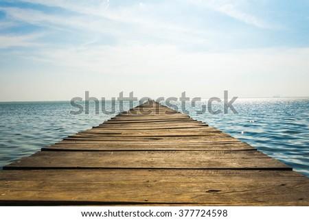 Boardwalk on beach at Kalpitiya, Sri Lanka - stock photo