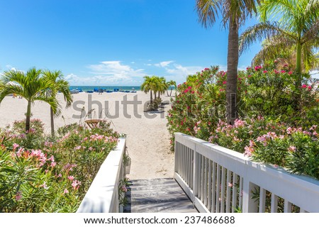 Boardwalk on beach in St. Pete, Florida, USA - stock photo