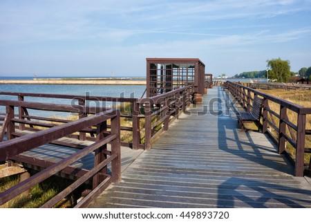 Boardwalk promenade overlooking Baltic Sea coast, Hel Peninsula, Poland - stock photo