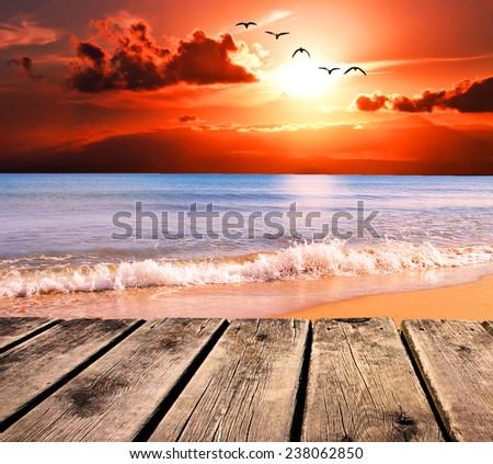 boardwalk seaside - stock photo