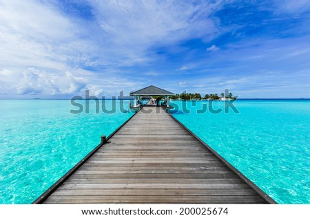 Boardwalk to paradise - stock photo