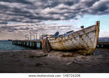Boat after the rain - stock photo