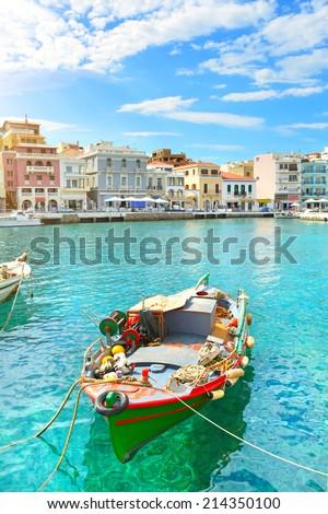 Boat. Agios Nikolaos. Crete, Greece - stock photo