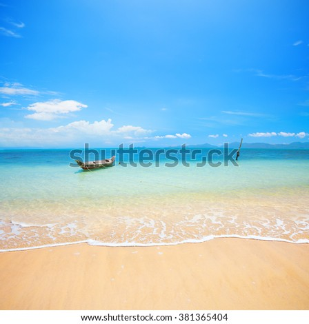 boat and beautiful blue ocean - stock photo