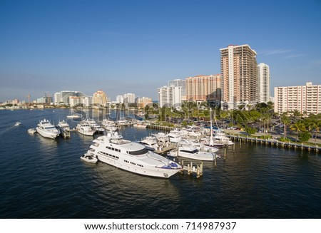 Boat and yacht parking in Fort Lauderdale bay, Florida USA. Aerial view.