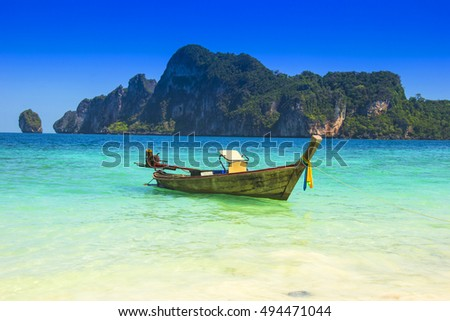 Boat at a beach in Phuket, Thailand, Asia