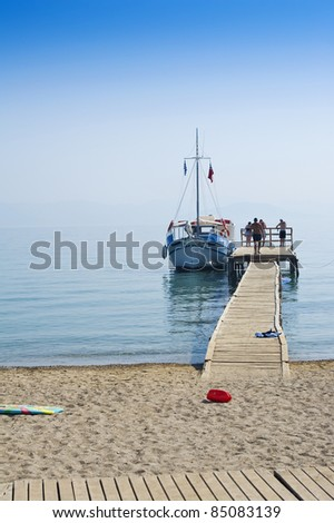 Boat at Jetty - stock photo