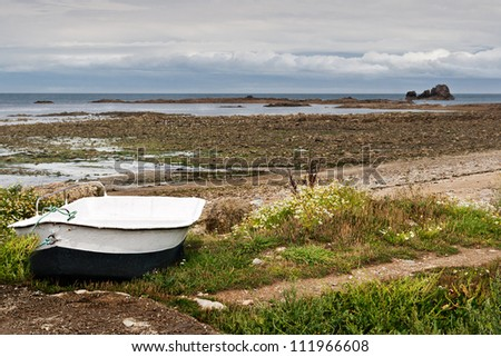 Boat at Low Tide in Normandy, France