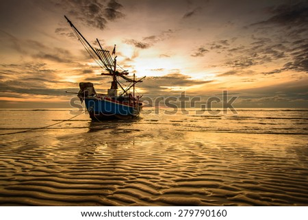 Boat at the beach Hua Hin - stock photo