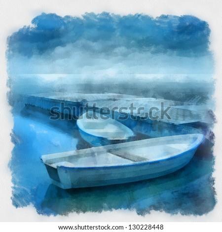 boat at the marina, watercolor - stock photo