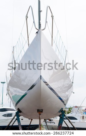 Boat at the shipyard for maintenance in Phuket, Thailand - stock photo