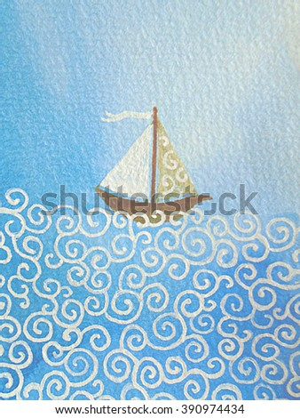 boat boating race sail sailing ship yacht yachting sea blue original summer nautical naval waves travel voyage trip sports adventure watercolor - stock photo
