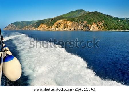 boat cruise with sea rocks - stock photo