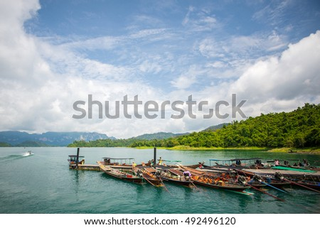 Boat dam in Ratchaprapha Dam at Khao Sok National Park, Surat Thani Province, Thailand.