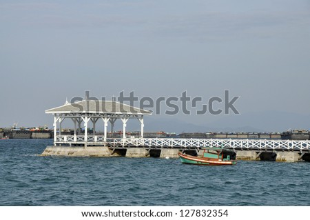 Boat Day Outdoor Pavilion Sea Wood - stock photo