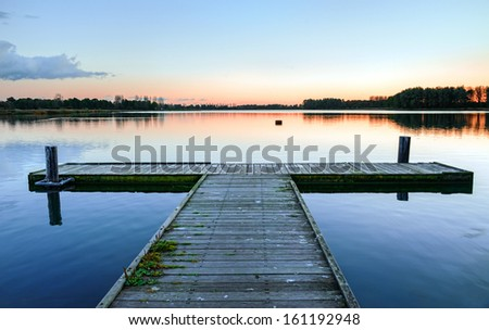 Boat dock on the lake. Pierce. - stock photo