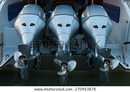 Boat engine tuned up and trying on the first run. - stock photo