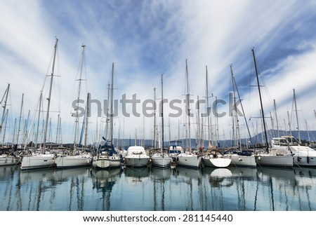 Boat harbor in Gouvia, Corfu, Greece - stock photo